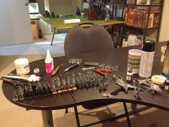 My High Elves dominating the hobby desk.