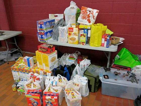 The food bank donation pile -- half of it anyway.